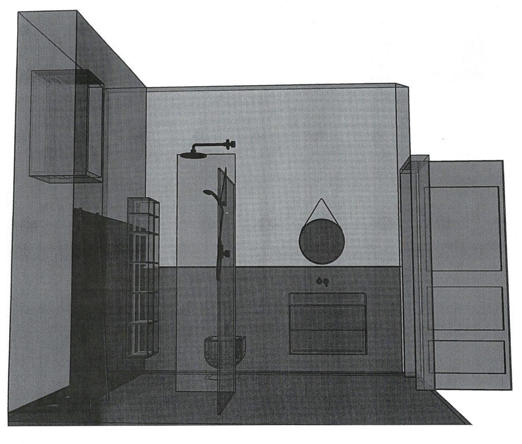 CAD Zeichnung in Röntgenoptik eines Badezimmers