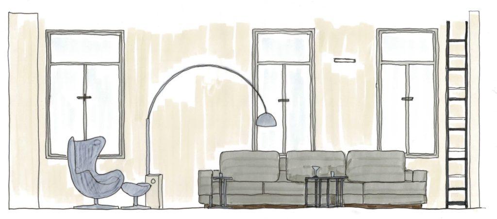 Skizze vom Wohnzimmer mit dem Sofa Ground Piece von Flexform