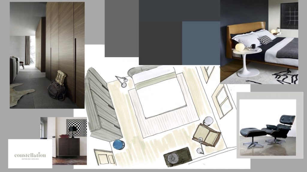Moodboard eines Schlafzimmers
