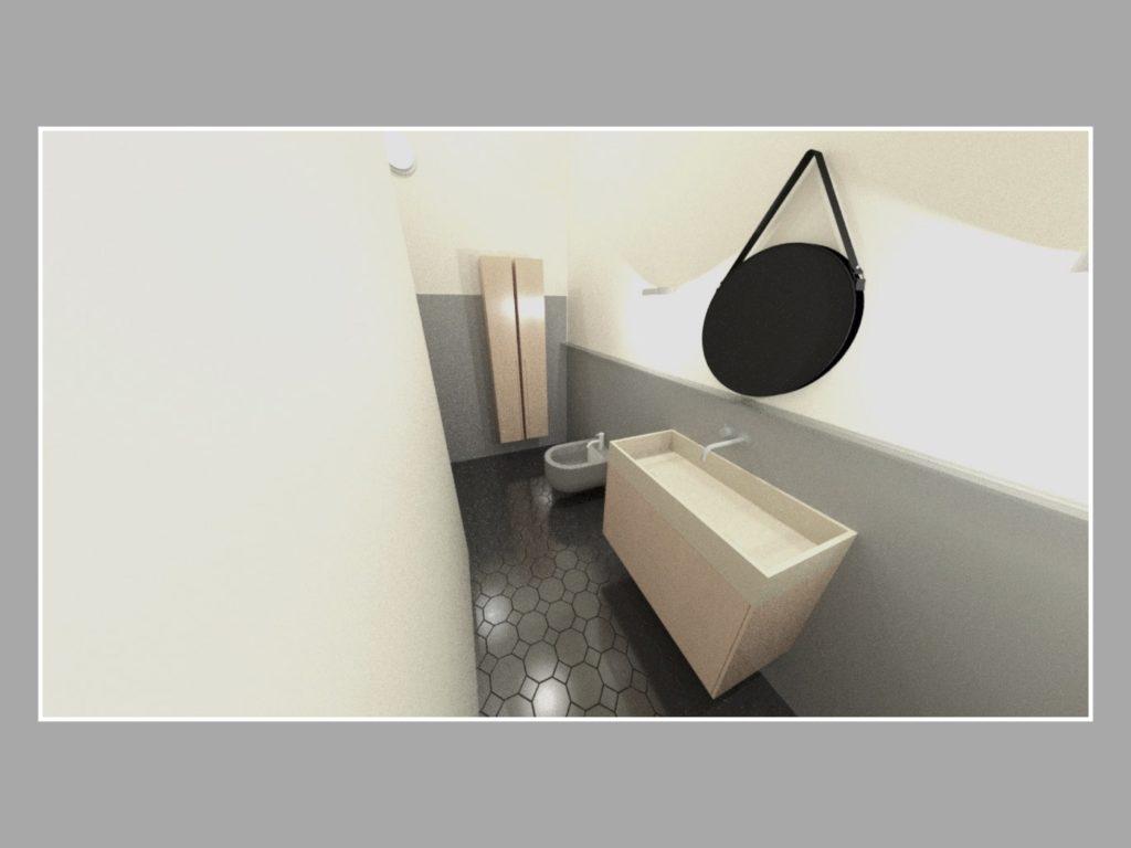 3D Visualisierung des Badezimmers mit rundem Spiegel