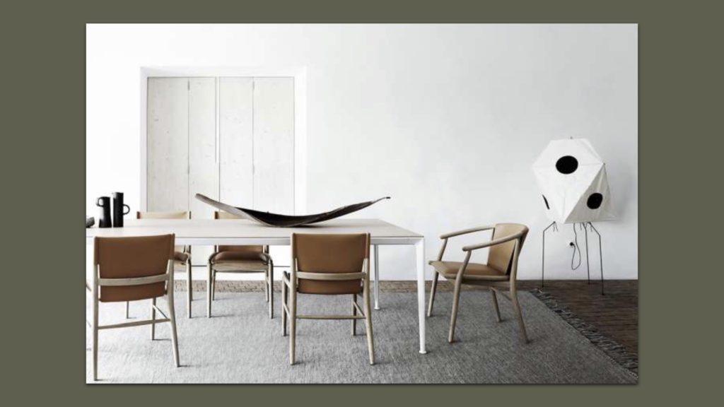 Sessel und Esstisch von B&B Italia und eine Vitra Leuchte
