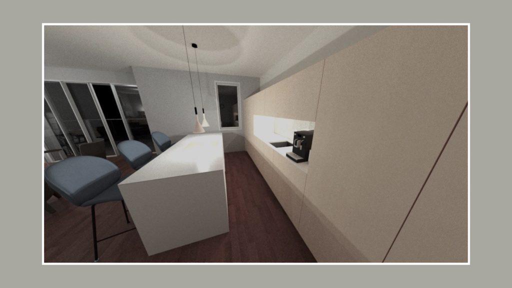 3D Visualisierung des offenen Wohnraumes