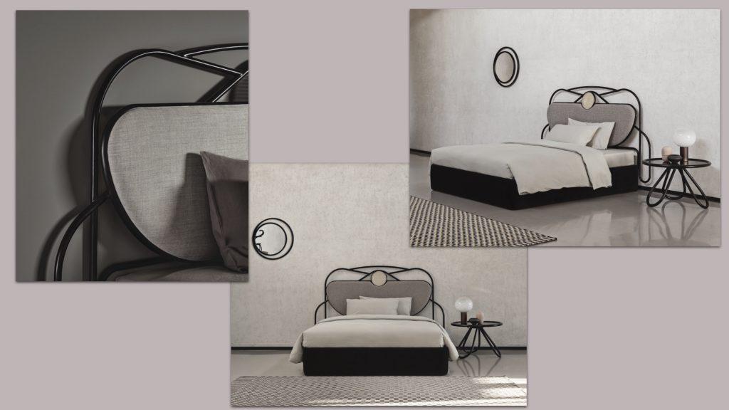 Collage vom Bett Yvette Gebrüder Thonet Vienna Interior design