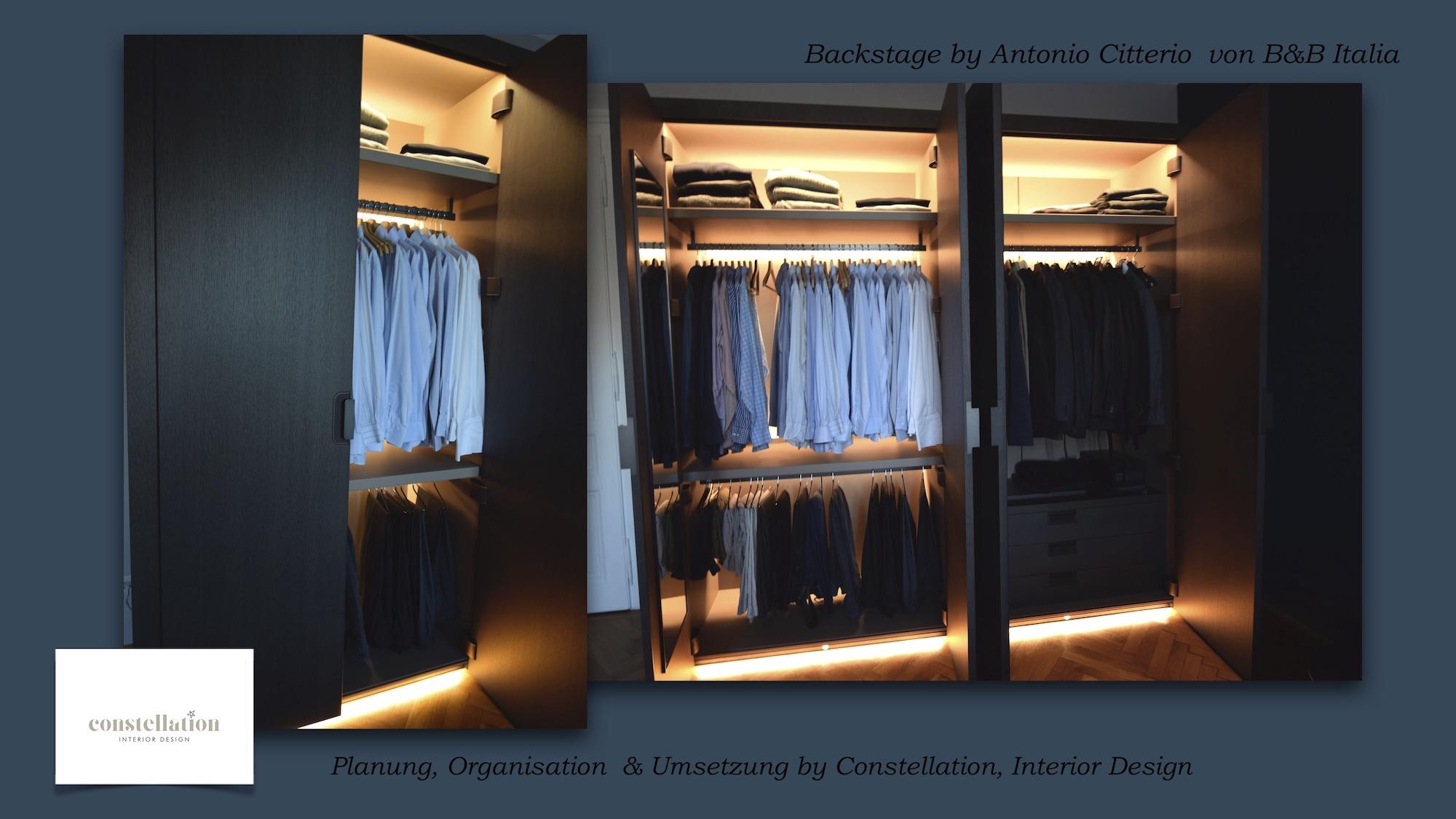 Planung Realisierung Umsetzung Projekt Kleiderkasten Closet Backstage B&B Italia